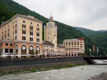 Sochi - Russian Feseration - July 17, 2017 - Town Hall Of Rosa Khutor royalty free stock photos