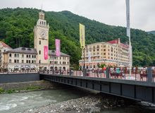 Sochi - Russian Feseration - July 17, 2017 - Town Hall Of Rosa Khutor stock photos