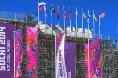 SOCHI, RUSSLAND - 21. FEBRUAR 2014: Flaggen im Hintergrund des Stadions während der 2014 Winter Olympics Lizenzfreies Stockbild