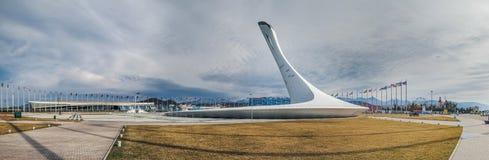 SOCHI, RUSSLAND - 25. FEBRUAR 2017: Panorama des Olympiaparks Lizenzfreies Stockfoto