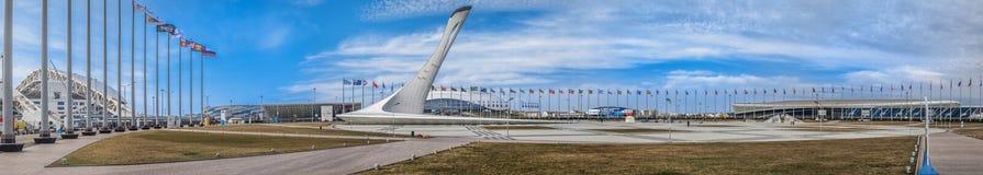 SOCHI, RUSSLAND - 25. FEBRUAR 2017: Panorama des Olympiaparks Lizenzfreies Stockbild