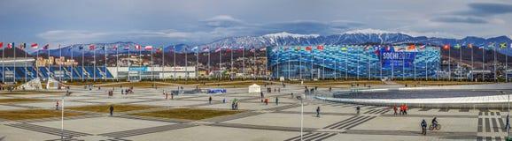 SOCHI, RUSSLAND - 25. FEBRUAR 2017: Panorama des Olympiaparks Lizenzfreie Stockfotografie