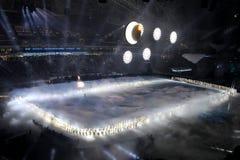 SOCHI, RUSSLAND - 7. FEBRUAR 2014: Schneeflocken, die, becom wenn Stockfotos