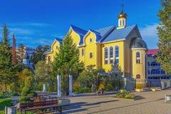 SOCHI, RUSSLAND - 3. NOVEMBER 2016: Adler Tempel des Abfalls des Heiliger Geist Lizenzfreie Stockfotografie