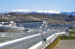 Sochi Ryssland, mars, 01, 2016 som är olympisk parkerar, Sochi avtodrom Arkivbilder