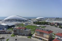 Sochi Ryssland - September 11, 2017: Fotbollsarena Fisht och Bolshoy iskupol Royaltyfri Bild