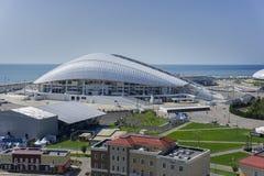 Sochi Ryssland - September 11, 2017: Stadion Fisht, flyg- sikt Arkivfoton