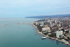 Sochi sea trade port. Russia, Krasnodar krai, Sochi cityscape, the view from the height of the Central part of the city and sea trade port royalty free stock images