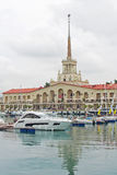 Sochi seaport building. View from the sea Royalty Free Stock Photos