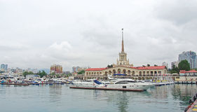 Sochi seaport. Mooring for vessels Royalty Free Stock Photo