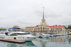 Sochi seaport. View from the mooring for vessels Stock Images