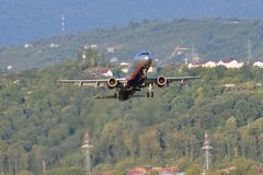 SOCHI - SEPTEMBER 12: Airplane take-off in airport Sochi in September 12, 2012. The Airplane Airbus A321-211 of Aeroflot - Russian Royalty Free Stock Photo