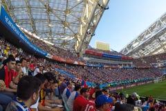 Sochi stadionfishten Fansen fyllde stadion Match Portugal vs Spanien royaltyfri fotografi