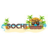 Sochi. Travel. Palm, drink, summer, lounge chair, tropical. Royalty Free Stock Photos