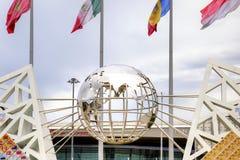 Sochi. Wall of champions of games. Globe Royalty Free Stock Photos