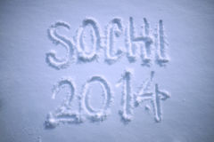 Sochi 2014 Winter Message Fresh Snow Royalty Free Stock Image