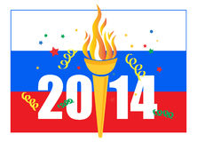 Sochi Winter Olympic Games 2014. Illustration of 2014 Winter Olympic games celebration with Russian flag Royalty Free Stock Photo