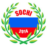 Sochi Winter Olympic Games 2014. Illustration of 2014 Winter Olympic games with wreath and Russian flag Royalty Free Stock Photography