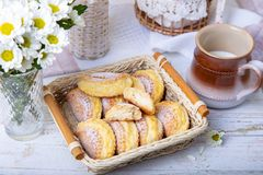 Sochniki sochni with cottage cheese. Traditional Russian shortbread with cottage cheese. stock image