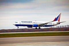 Société aéronautique de Transaero à l'aéroport international Sheremetyevo Images libres de droits