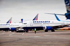 Société aéronautique de Transaero à l'aéroport international Sheremetyevo Photo stock