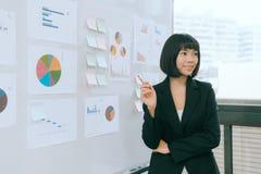 Société de reportage de femme d'affaires financière Photo stock