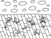 Société drôle de chat sur le toit Images libres de droits