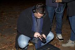 Société paranormale de Brooklyn pendant l'enquête Images libres de droits