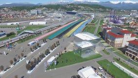 SOCI, costruzione della RUSSIA di nuovi hotel nel villaggio olimpico in Soci, Russia La capacità raggiungerà 2.600 persone E Immagini Stock Libere da Diritti