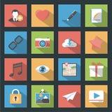 Socia media web flat icons set with longshadow Royalty Free Stock Photos