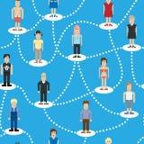 Sociaal de verbindings naadloos patroon van pixelmensen Stock Afbeeldingen
