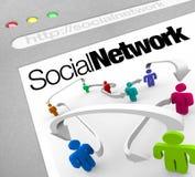 Sociaal die Netwerk op Internet-Mensen door Pijlen wordt verbonden Stock Foto