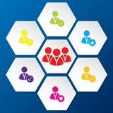 Sociaal die netwerkpictogram in hexagon vormen wordt geplaatst Stock Afbeeldingen