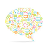 Sociaal media, achtergrond en pictogram Royalty-vrije Stock Foto