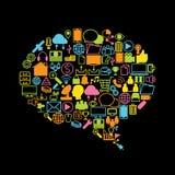 Sociaal media, achtergrond en pictogram Royalty-vrije Stock Afbeeldingen