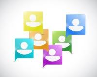 Sociaal media communicatie illustratieontwerp stock illustratie