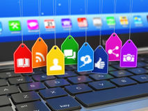 Sociaal media communicatie van Internet concept Stock Foto's