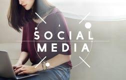 Sociaal Media Communication-Voorzien van een netwerk Online Concept Stock Foto