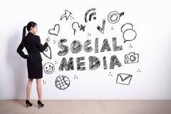 Sociaal media concept stock foto's