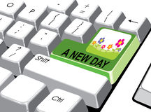 Sociaal media concept: Ga knoop met een nieuwe dag op computer in Royalty-vrije Stock Foto