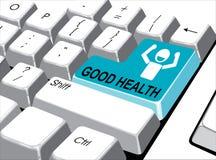 Sociaal media concept: Ga knoop met goede gezondheid op computer in Stock Foto