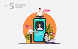 Sociaal media concept Verwijs vrienden royalty-vrije illustratie