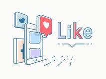 Sociaal Media conceptontwerp Royalty-vrije Illustratie