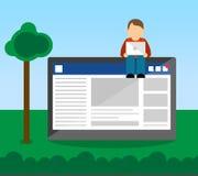 Sociaal Media Gebruikersconcept met Gebruiker Vector Illustratie