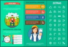 Sociaal media infographic malplaatje, elementen, pictogrammen Stock Fotografie