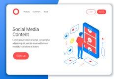 Sociaal media isometrisch concept royalty-vrije illustratie