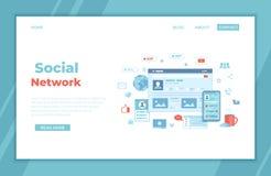 Sociaal media netwerk, online Internet-mededeling De sociale Interface van de websitepagina De schermen van de mobiele en compute vector illustratie