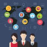 Sociaal media netwerkconcept met gebruikers vlak Stock Afbeeldingen