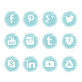 Sociaal Media pictogramontwerp in blauw thema Royalty-vrije Stock Foto