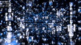 Sociaal netwerk als stroom van heldere mensenportretten die zich langs donkerblauwe netwerkverbindingen bewegen Zaken, technologi stock footage
